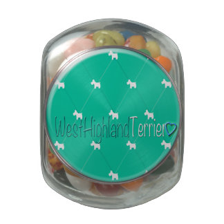 Diamond Pattern Nouvelle Vague (Westies) Glass Candy Jar