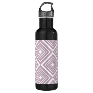 Diamond Pattern Purple and White Stainless Steel Water Bottle