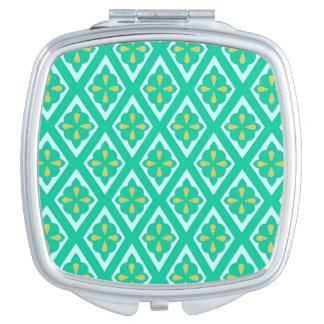 Diamond pattern - teal green and aqua vanity mirror