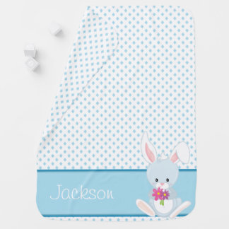 Diamond Pattern with Rabbit | Personalized Receiving Blanket
