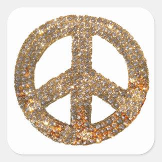 Diamond Peace Sign Square Sticker