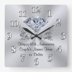 Diamond Personalized 60th Anniversary Gifts Clock at Zazzle