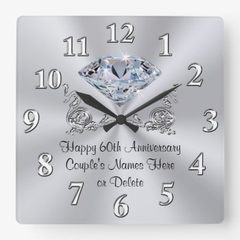 Diamond Personalized 60th Anniversary Gifts Clock by LittleLindaPinda at Zazzle