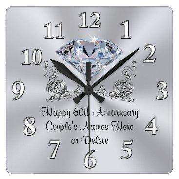anniversarie Diamond Personalized 60th Anniversary Gifts CLOCK