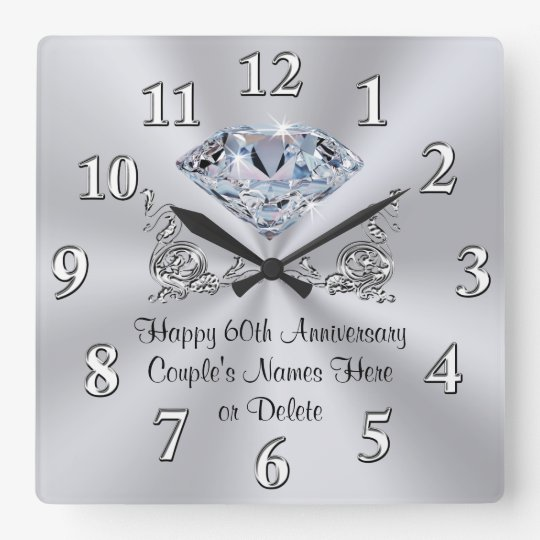 Gifts For 60th Wedding Anniversary: Diamond Personalized 60th Anniversary Gifts CLOCK