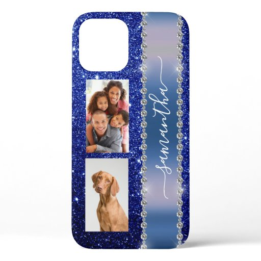 Diamond Photo Glitter Calligraphy Name Navy Blue iPhone 12 Pro Case