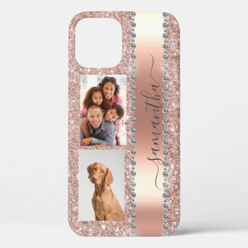Diamond Photo Glitter Name Monogram Rose Gold iPhone 12 Pro Case