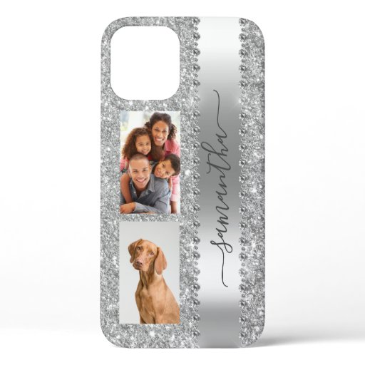 Diamond Photo Glitter Name Monogram Silver iPhone 12 Pro Case