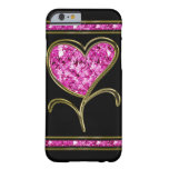 Diamond Pink & Gold Heart Flower Barely There iPhone 6 Case