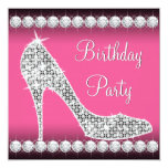 Diamond Pink High Heel Shoe Birthday Party Invitation