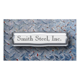 Diamond Plate Blue Double-Sided Standard Business Cards (Pack Of 100)