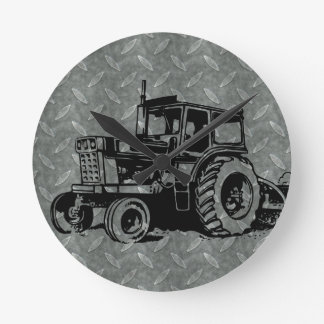 Diamond Plate Farm Tractor Round Clock