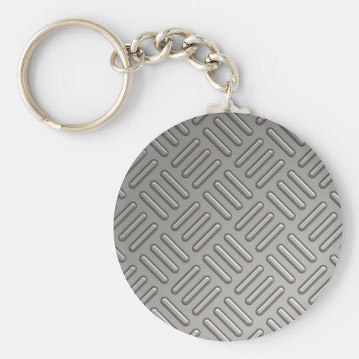 Diamond Plate Faux Pattern Key Chain