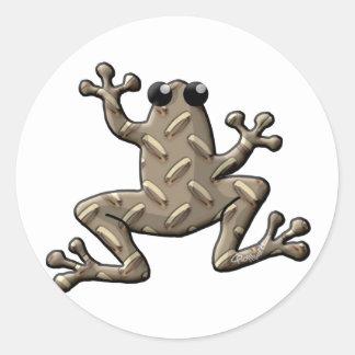Diamond Plate Frogs Classic Round Sticker