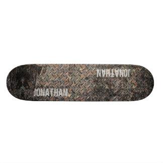Diamond plate Grunge Text Template Skateboard