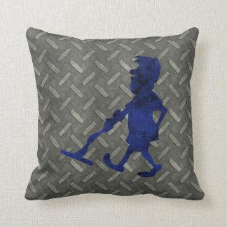 Diamond Plate Metal Detecting Man Throw Pillows