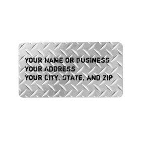 Diamond Plate Metal Pattern Address Label Sheet