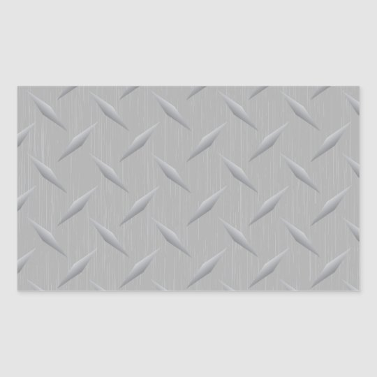 Diamond Plate Metal Rectangular Sticker