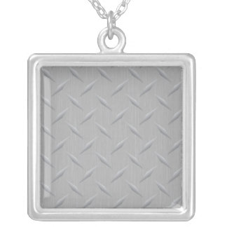 Diamond Plate Metal Silver Plated Necklace