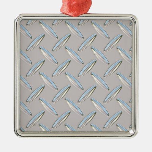Diamond Plate Metallic Christmas Ornament