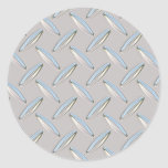 Diamond Plate Metallic Classic Round Sticker
