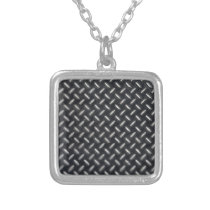 diamond-plate pattern silver plated necklace