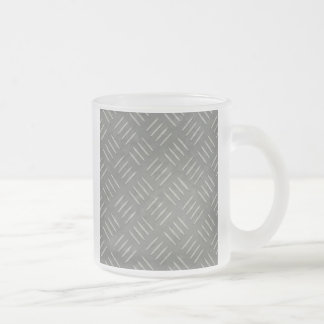 Diamond Plate Stainless Steel Textured Frosted Glass Coffee Mug