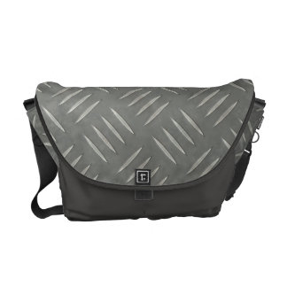 Diamond Plate Stainless Steel Textured Messenger Bag