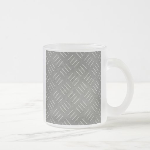 Diamond Plate Stainless Steel Textured 10 Oz Frosted Glass Coffee Mug