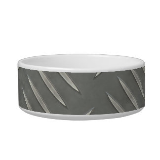 Diamond Plate Stainless Steel Textured Cat Bowl