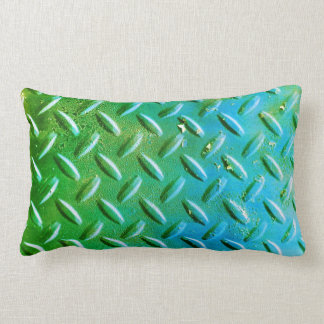 Diamond Plate Steel distressed Grunge green Lumbar Pillow