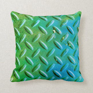 Diamond Plate Steel distressed Grunge green Throw Pillow