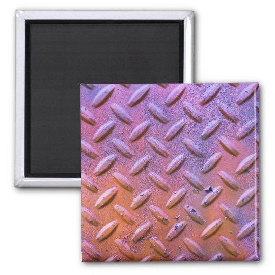 Diamond Plate Steel distressed Grunge orange Magnet