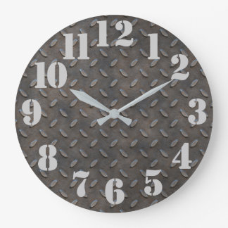 Diamond Plate Steel Industrial Look Large Clock