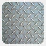 Diamond Plate Steel Square Sticker