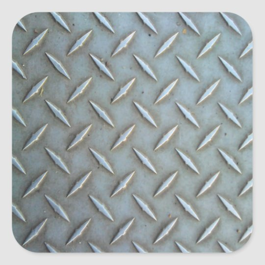 Diamond Plate Steel Square Sticker