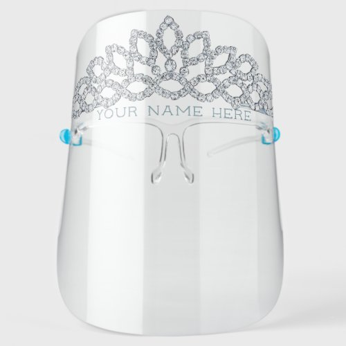 Diamond Princess Tiara - Add Your Name / Title Face Shield