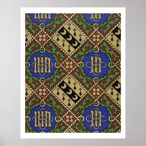 Diamond print ecclesiastical wallpaper design