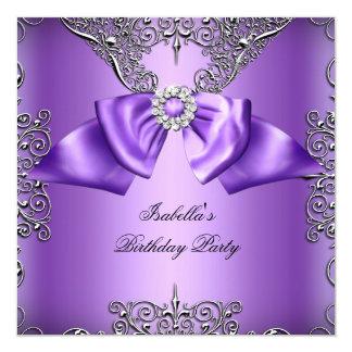Diamond Purple Bow Silver Elegant Birthday Party 2 Card
