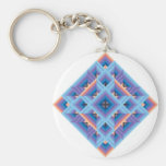 Diamond Quilt in Blue and Purple Basic Round Button Keychain