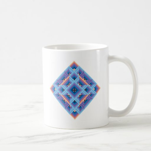 Diamond Quilt in Blue and Purple Classic White Coffee Mug
