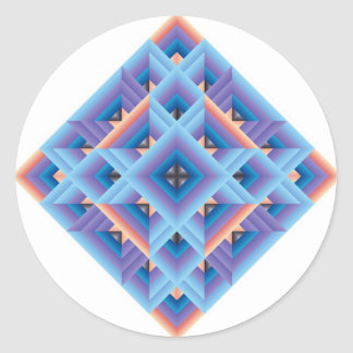 Diamond Quilt in Blue and Purple Round Stickers