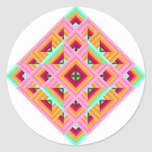 Diamond Quilt in Pink and Green Classic Round Sticker