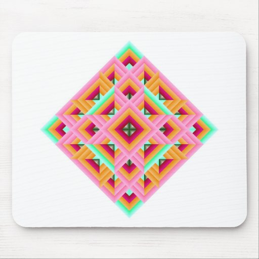 Diamond Quilt in Pink and Green Mouse Pad