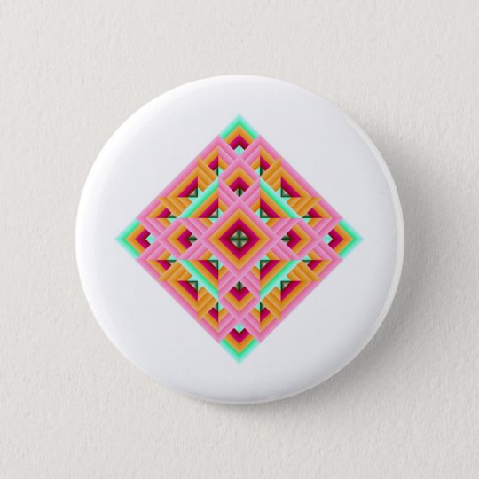 Diamond Quilt in Pink and Green Pinback Button