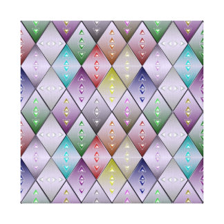 Diamond Quilt Pattern Stretched Canvas Print 12x12
