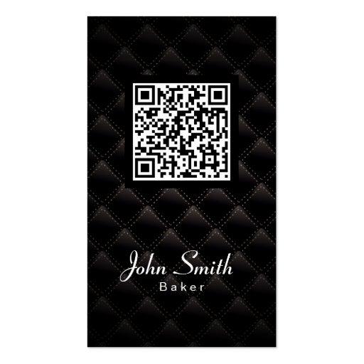 Diamond Quilt QR Code Baker Business Card (front side)