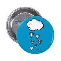 diamond rain, funny, illustration, cool, cute, geometric, diamond, rain, graphic, vector, fun, unique, creative, design, blue, buttons, Button with custom graphic design