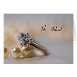 Diamond Ring and Pearls Engagement Announcement Cards