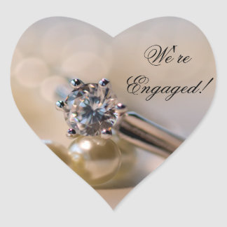 Diamond Ring and Pearls Engagement Envelope Seals Heart Sticker